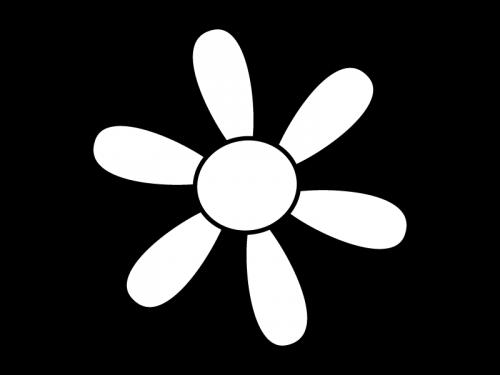 大輪の花の白黒イラスト05