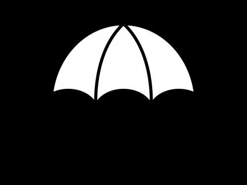 雨天・傘の白黒イラスト