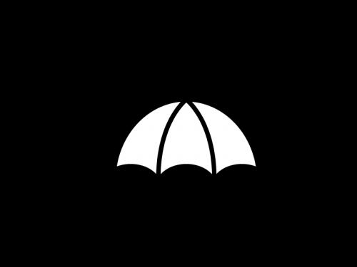 雨天・傘の白黒イラスト02
