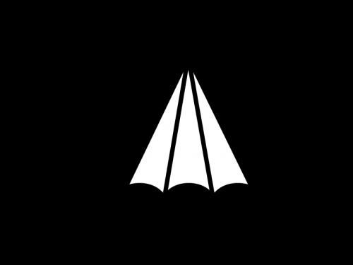 雨天・傘の白黒イラスト03