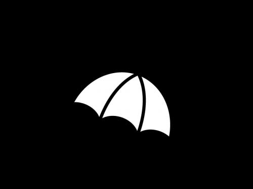 雨天・傘の白黒イラスト04