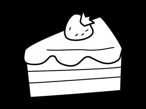 ショートケーキの白黒イラスト