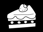 ショートケーキの白黒イラスト02