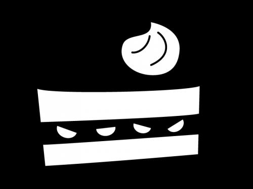 ケーキの白黒イラスト02