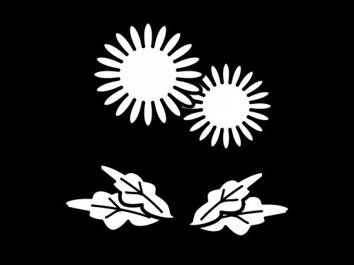 たんぽぽの白黒イラスト