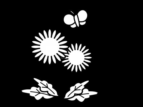 たんぽぽと蝶々の白黒イラスト