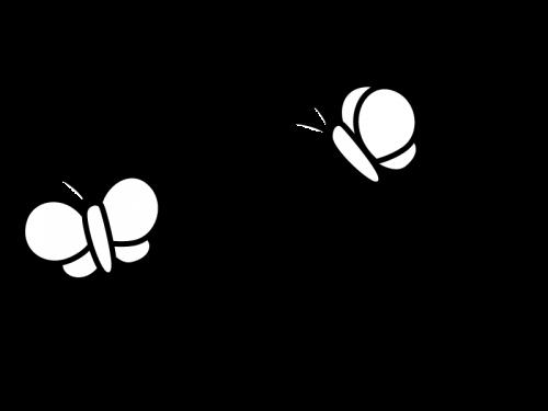 蝶々の白黒イラスト