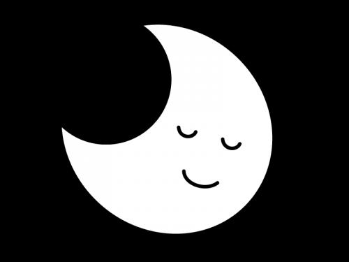 寝ている三日月の白黒イラスト