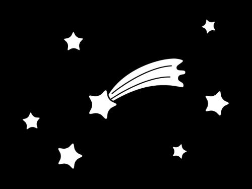 星と流れ星の白黒イラスト