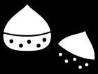 栗の白黒イラスト