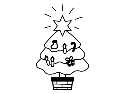 クリスマスツリーの白黒イラスト02