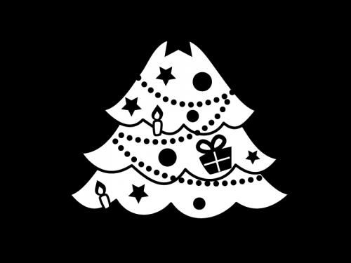 クリスマスツリーの白黒イラスト03 かわいい無料の白黒イラスト モノぽっと
