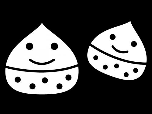 かわいい栗の白黒イラスト
