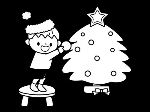 クリスマスツリーの飾りつけの白黒イラスト