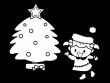 クリスマスツリーの飾りつけの白黒イラスト02