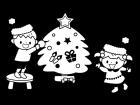クリスマスツリーの飾りつけの白黒イラスト03