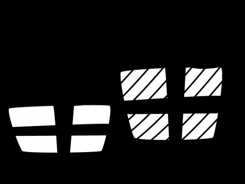 プレゼント箱の白黒イラスト