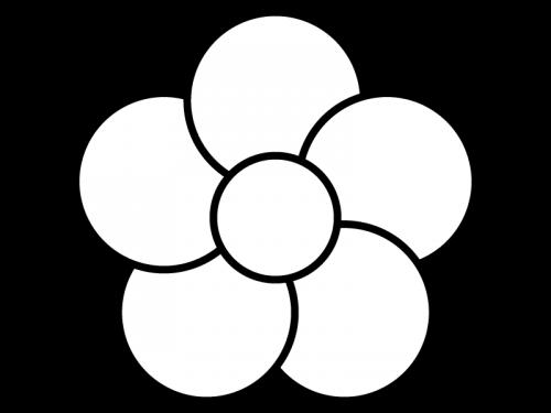 大輪の花の白黒イラスト