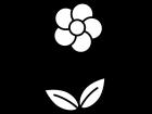一輪の小花の白黒イラスト