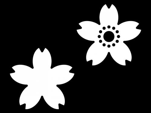 桜の花びらの白黒イラスト