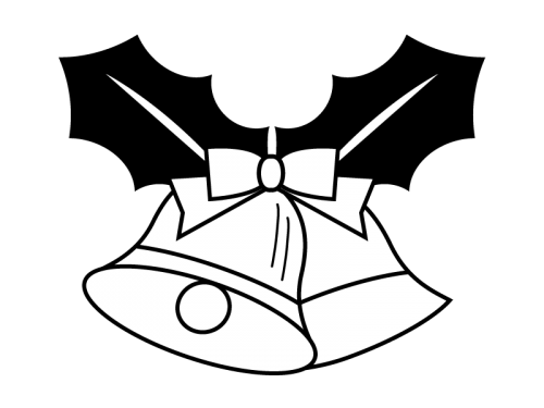 ヒイラギとクリスマスベルの白黒イラスト03