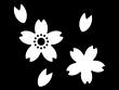 たくさんの桜の花びらの白黒イラスト02
