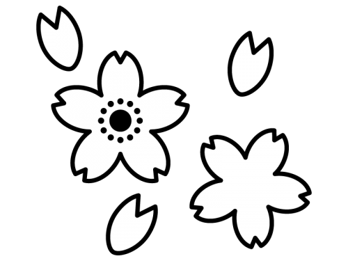 たくさんの桜の花びらの白黒イラスト02 かわいい無料の白黒イラスト