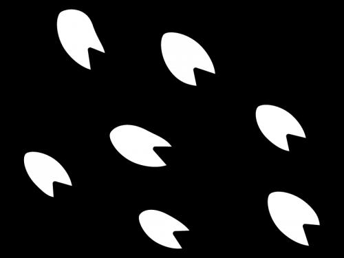桜吹雪の白黒イラスト