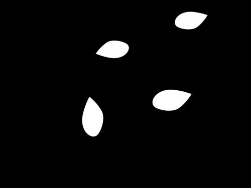 蔦と葉っぱの白黒イラスト