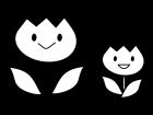 チューリップの白黒イラスト
