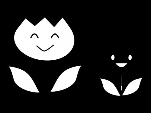 チューリップの白黒イラスト02