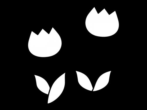チューリップの白黒イラスト03