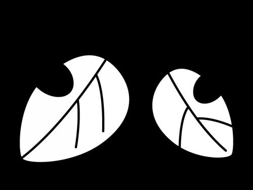 落ち葉・枯葉の白黒イラスト