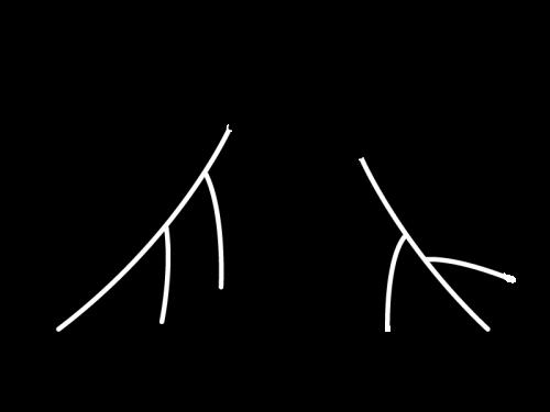 落ち葉・枯葉の白黒イラスト02
