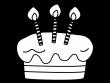 誕生日ケーキの白黒イラスト