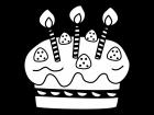 誕生日ケーキの白黒イラスト02
