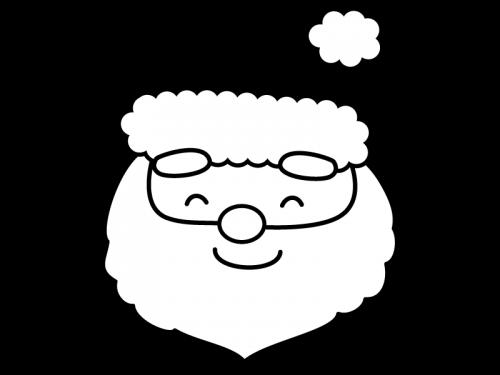 サンタクロースの白黒イラスト