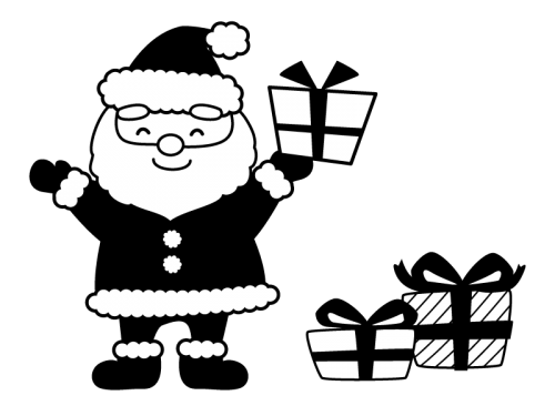 サンタクロースとプレゼント箱の白黒イラスト