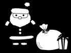 サンタクロースとプレゼント箱の白黒イラスト02
