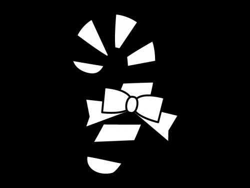 クリスマス・キャンディケインの白黒イラスト