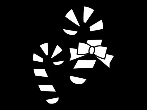 クリスマス・キャンディケインの白黒イラスト02