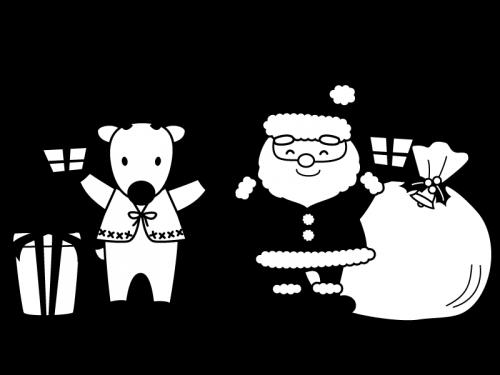 プレゼントを持ったサンタとトナカイの白黒イラスト かわいい無料の白黒イラスト モノぽっと