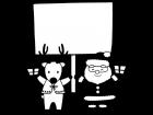 看板を持ったサンタとトナカイの白黒イラスト