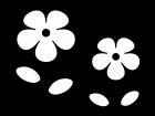 二輪の小花の白黒イラスト