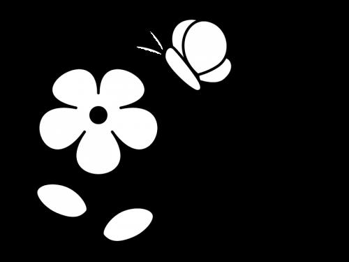 小花と蝶々の白黒イラスト