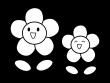 かわいい二輪の花の白黒イラスト