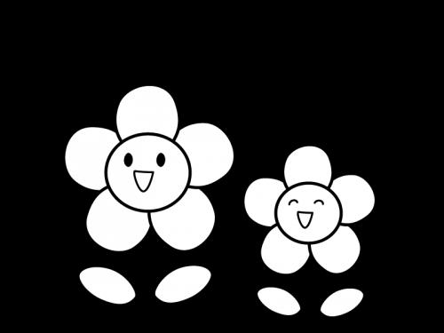 かわいい二輪の花と音符の白黒イラスト かわいい無料の白黒イラスト
