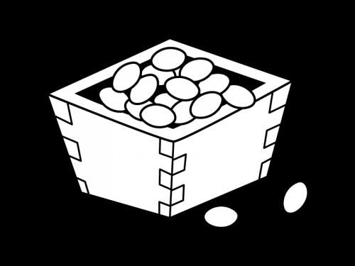 升に入った節分の豆の白黒イラスト
