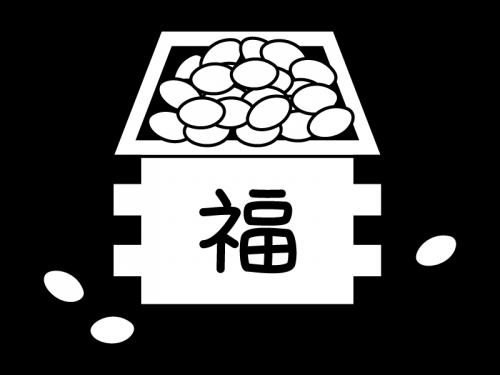 升に入った節分の豆の白黒イラスト02