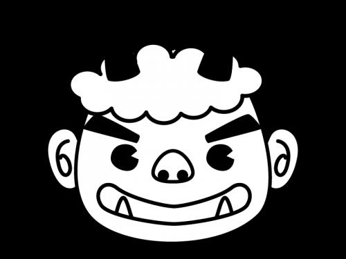 節分・鬼の顔の白黒イラスト